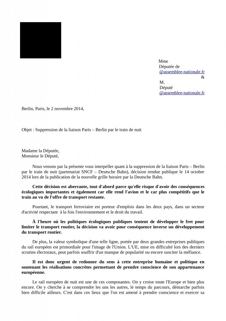 Courrier accompagnement Parlement FR modele page1