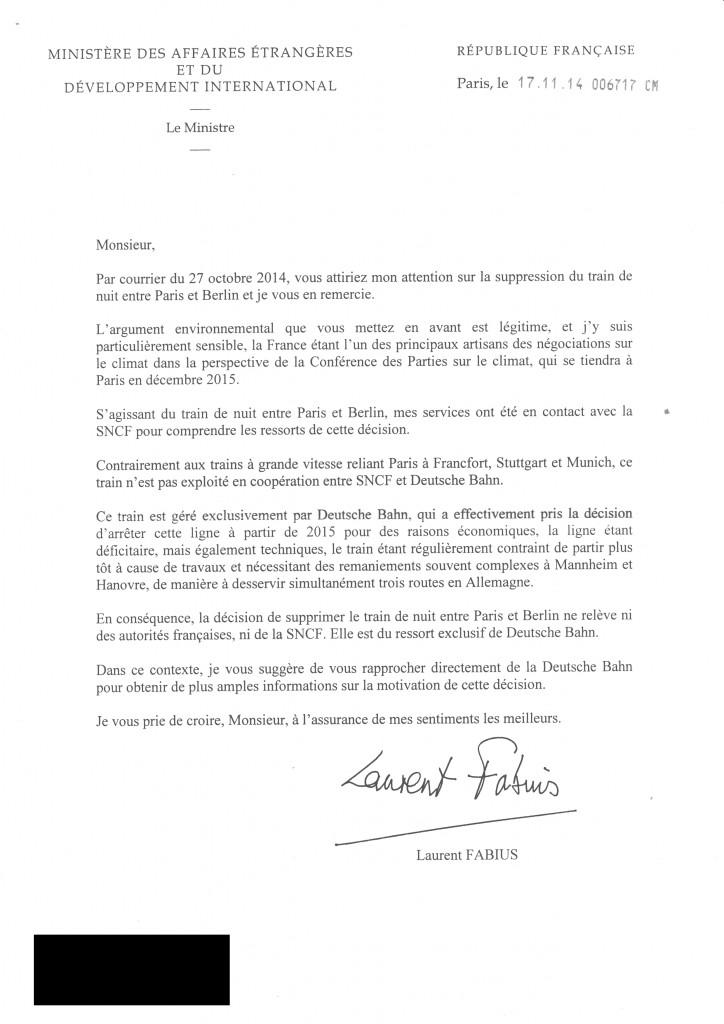 Reponse Laurent Fabius